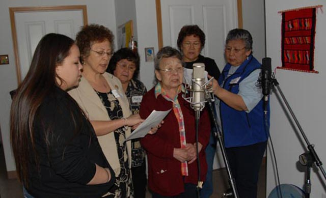 Alutiiq speakers record a song.